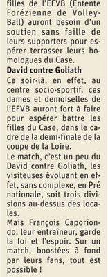 Article Le Progrès du 22 mai, pages de La Fouillouse : 1/2 finale Coupe de la Loire féminine