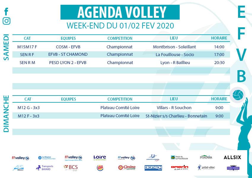 Agenda week-end du 1 et 2 février 2020