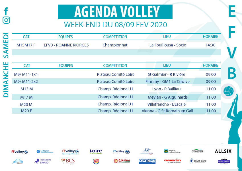 Agenda week-end du 8 et 9 février 2020