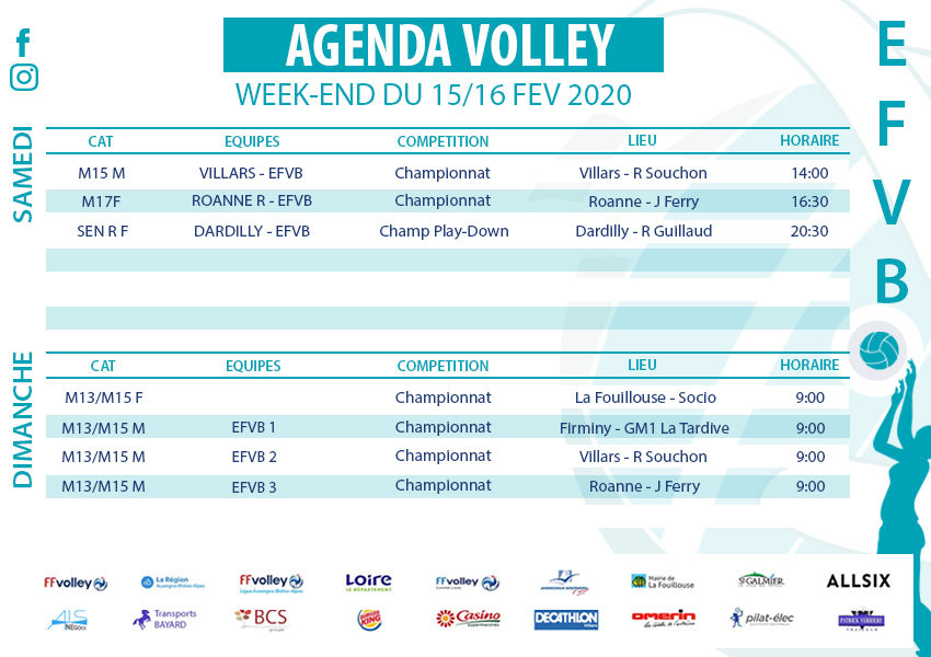 Agenda week-end du 15 et 16 février 2020