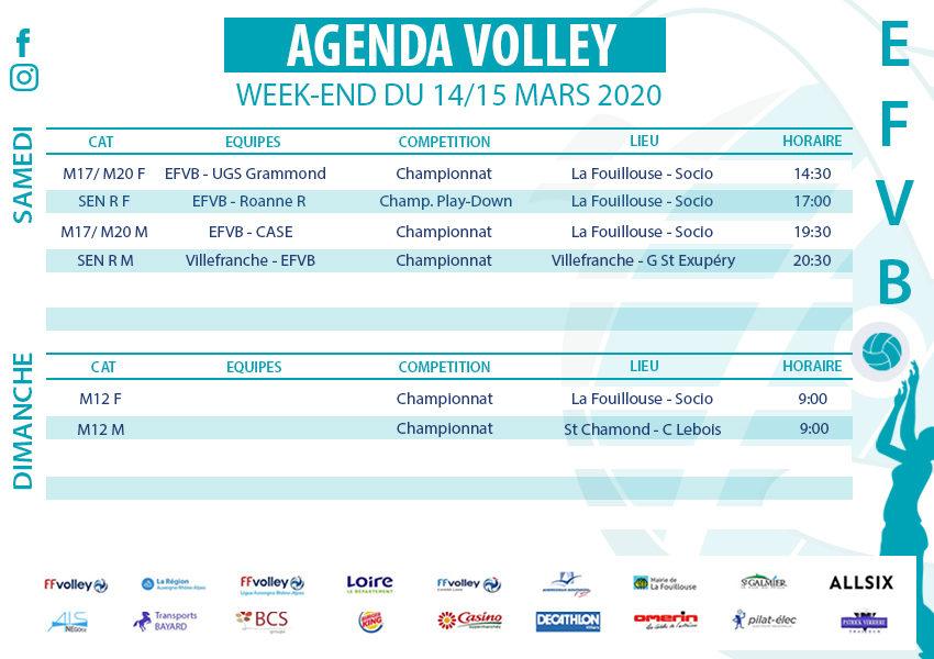 Agenda Week-end du 14 et 15 mars 2020