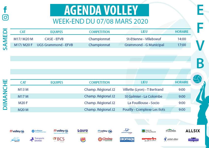 Agenda week-end du 7 et 8 mars 2020