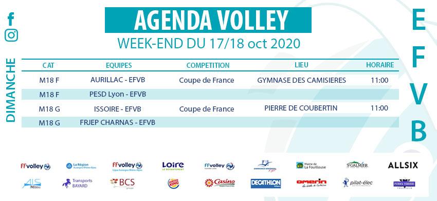 Agenda Week-end du 17 et 18 octobre 2020